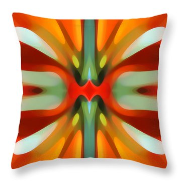 Abstract Red Tree Symmetry Throw Pillow by Amy Vangsgard