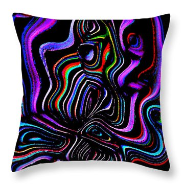 Throw Pillow featuring the digital art Abstract  Rhythm A Contemporary Modern Digital Art by Annie Zeno