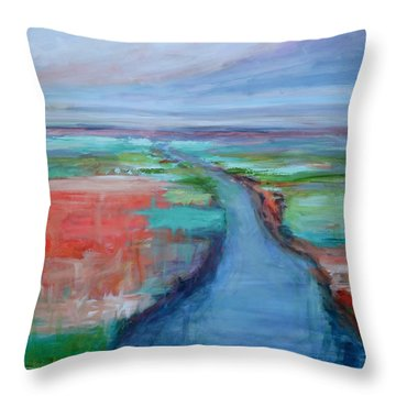 Abstract River Throw Pillow by Donna Tuten