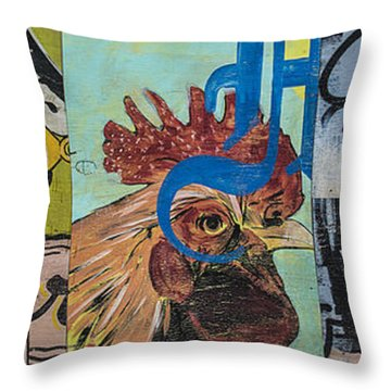 Abstract Rooster Panel Throw Pillow