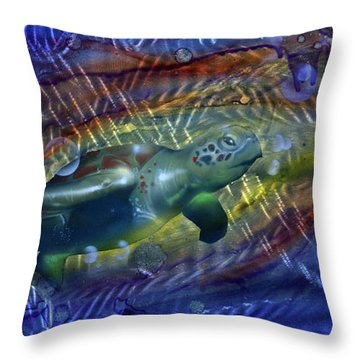 Abstract Sea Turtle 1 Throw Pillow by Luis  Navarro