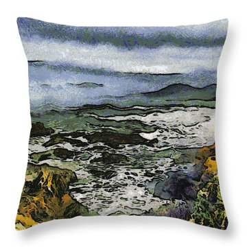 Abstract Seascape Morro Bay California Throw Pillow by Barbara Snyder