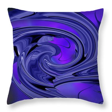 Throw Pillow featuring the digital art Abstract - Shades Of Blue by rd Erickson