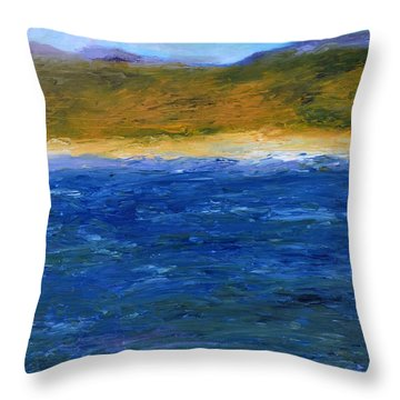 Abstract Shoreline Throw Pillow by Michelle Calkins
