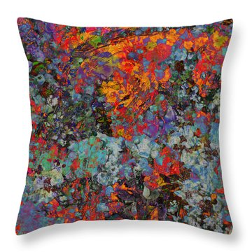 Throw Pillow featuring the mixed media Abstract Spring by Ally  White