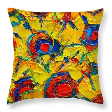 Abstract Sunflowers Throw Pillow by Ana Maria Edulescu