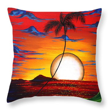 Abstract Surreal Tropical Coastal Art Original Painting Tropical Resonance By Madart Throw Pillow by Megan Duncanson