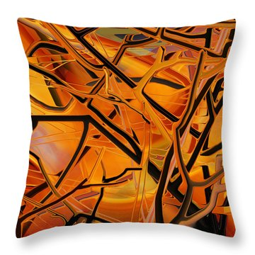 Throw Pillow featuring the digital art Abstract - Tangled Brush by rd Erickson