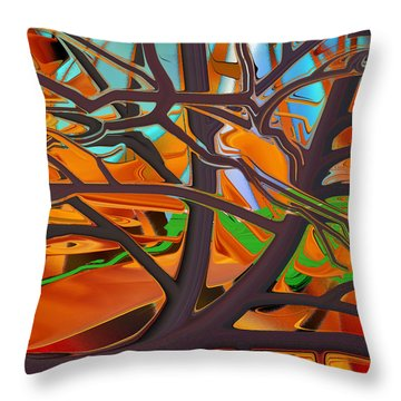 Throw Pillow featuring the digital art Abstract - Tree In Autumn by rd Erickson