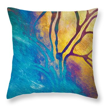 Fire And Ice Abstract Tree Art  Throw Pillow