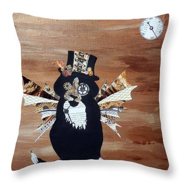 Steampunk Style Cat Art Tuxedo Cat Abstract Cat Painting Throw Pillow