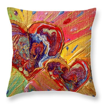 Abstract Valentines Love Hearts Throw Pillow