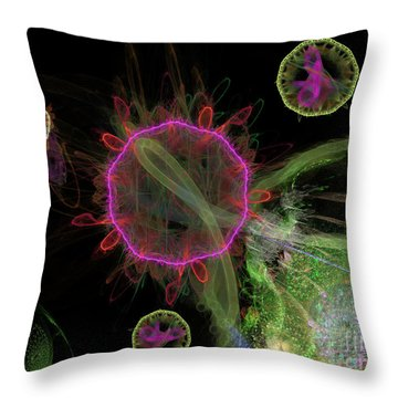 Throw Pillow featuring the digital art Abstract Virus Budding 1 by Russell Kightley