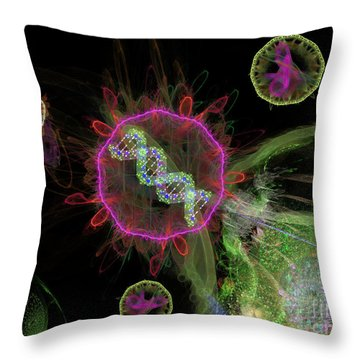 Throw Pillow featuring the digital art Abstract Virus Budding 2 by Russell Kightley