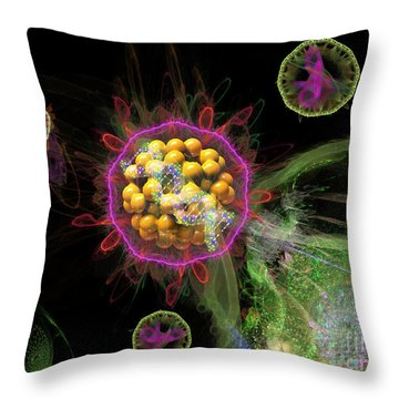 Throw Pillow featuring the digital art Abstract Virus Budding 3 by Russell Kightley