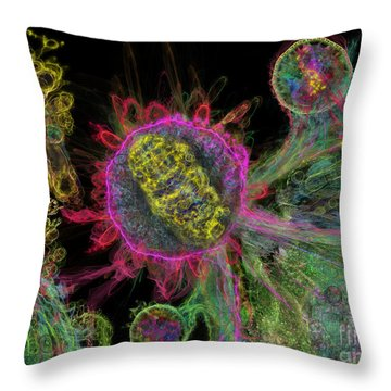 Throw Pillow featuring the digital art Abstract Virus Budding Glow 1 by Russell Kightley