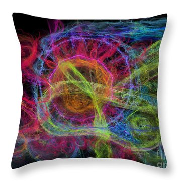 Throw Pillow featuring the digital art Abstract Virus Budding Painterly 1 by Russell Kightley