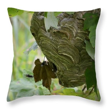 Abstract Wasp Throw Pillow