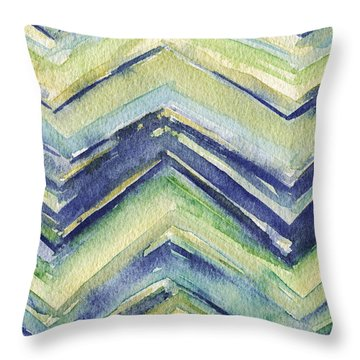 Abstract Watercolor Painting - Blue Yellow Green Chevron Pattern Throw Pillow by Beverly Brown