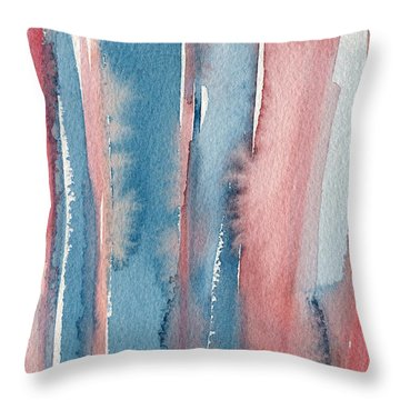 Abstract Watercolor Painting - Coral And Teal Blue Medium Stripes Throw Pillow