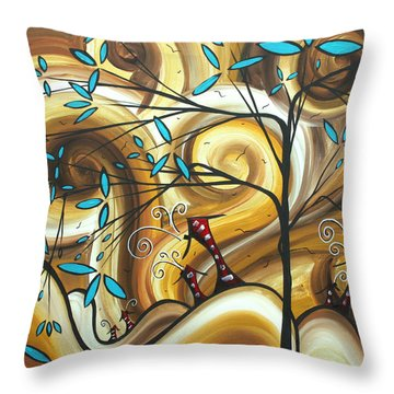 Abstract Whimsical Landscape Painting Home On The Range By Madart Throw Pillow by Megan Duncanson