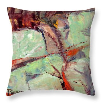 Abstract With Cadmium Red Throw Pillow