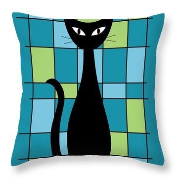 Abstract With Cat In Teal Throw Pillow
