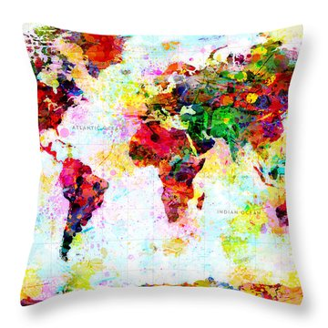 Abstract World Map Throw Pillow