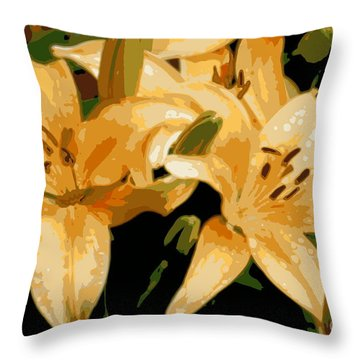 Throw Pillow featuring the photograph Abstract Yellow Asiatic Lily - 1 by Kenny Glotfelty