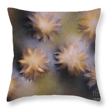 Abstract Yellow Flowers Throw Pillow