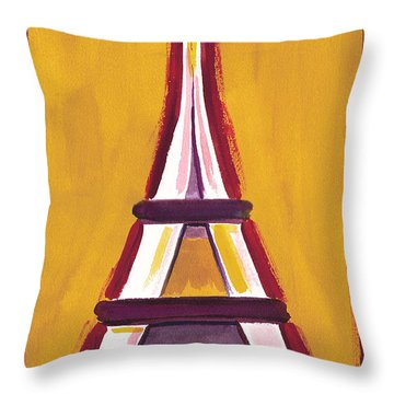 Abstract Yellow Red Eiffel Tower Throw Pillow