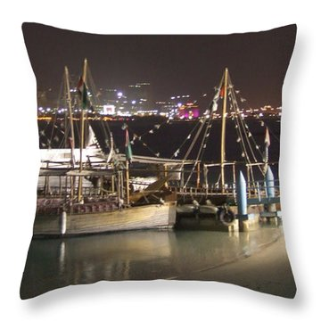 Throw Pillow featuring the photograph Abu Dhabi At Night by Andrea Anderegg