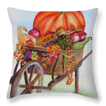 Throw Pillow featuring the painting Abundance  by Diane DeSavoy