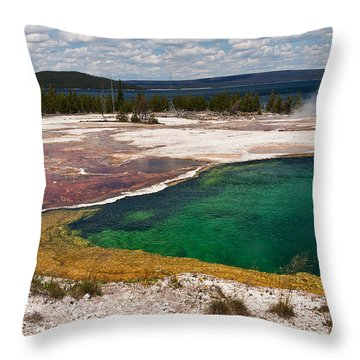 Abyss Pool And Yellowstone Lake Throw Pillow by Sue Smith