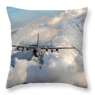 Ac-130h-u Gunship Aircraft Throw Pillow by Celestial Images