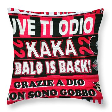 Ac Milan Fans Scarves  Throw Pillow by Valentino Visentini