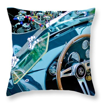 Ac Shelby Cobra Engine - Steering Wheel Throw Pillow by Jill Reger