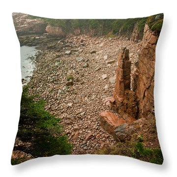 Acadia Fog At Monument Cove 4337 Throw Pillow by Brent L Ander