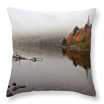 Acadia In The Fog Throw Pillow