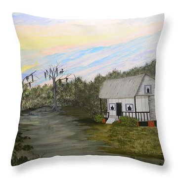 Acadian Home On The Bayou Throw Pillow