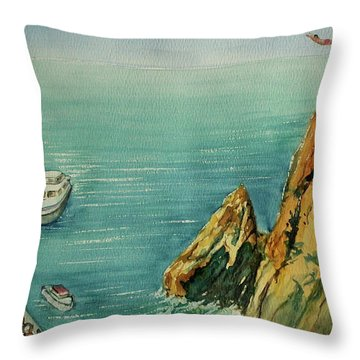 Acapulco Cliff Diver Throw Pillow