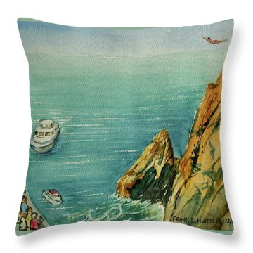 Acapulco Cliff Diver Throw Pillow by Frank Hunter