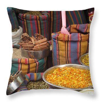 Throw Pillow featuring the photograph Acco Acre Israel Shuk Market Spices Stripes Bags by Paul Fearn