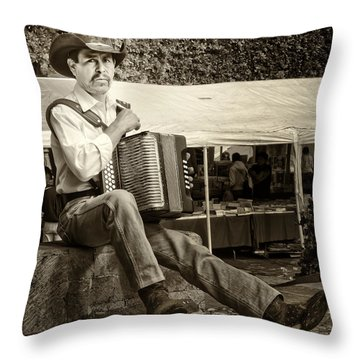 Accordian Player Throw Pillow