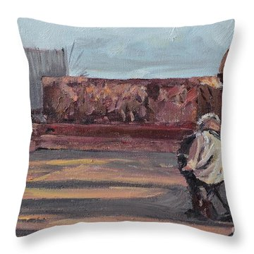 Accordion Man Of Old San Juan Throw Pillow