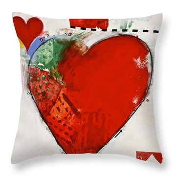 Throw Pillow featuring the painting Ace Of Hearts 8-52 by Cliff Spohn