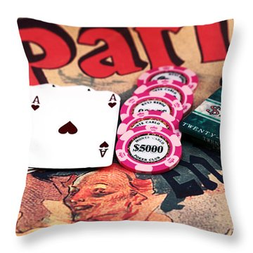 Aces In Paris Throw Pillow