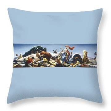 Achelous And Hercules Throw Pillow