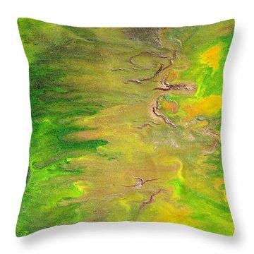 Acid Green Abstract Throw Pillow