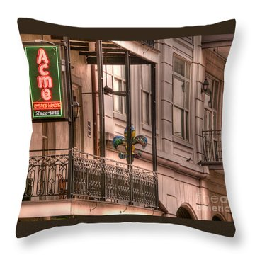 Acme Oyster House Throw Pillow by David Bearden